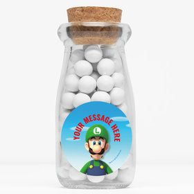 "Super Mario Bros. Luigi Personalized 4"" Glass Milk Jars (12 Count)"
