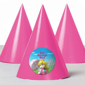 Super Mario Bros. Princess Peach Personalized Party Hats (8 Count)