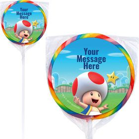 "Super Mario Bros. Toad Personalized 3"" Lollipops (12 Pack)"