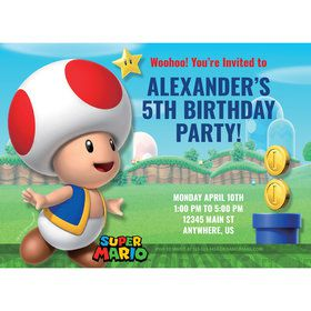 Super Mario Bros. Toad Personalized Invitation (Each)