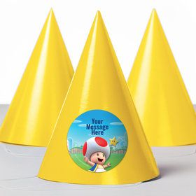 Super Mario Bros. Toad Personalized Party Hats (8 Count)