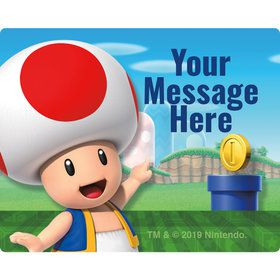 Super Mario Bros. Toad Personalized Rectangular Stickers (Sheet of 15)