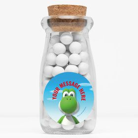 "Super Mario Bros. Yoshi Personalized 4"" Glass Milk Jars (12 Count)"