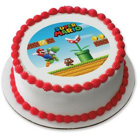 "Super Mario Kingdom 7.5"" Round Edible Cake Topper (Each)"