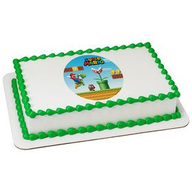 Super Mario Kingdom Quarter Sheet Edible Cake Topper (Each)
