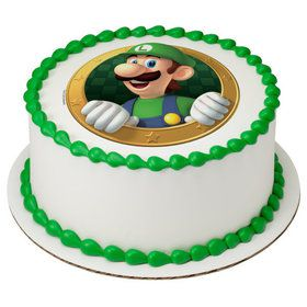 "Super Mario Luigi 7.5"" Round Edible Cake Topper (Each)"