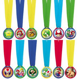 Super Mario Mini Award Medals (12 Pack)