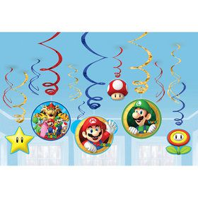 Super Mario Value Pack Foil Swirl Decorations