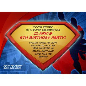 Super Superhero Personalized Invitation (Each)