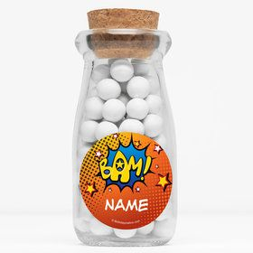 "Superhero Comics Personalized 4"" Glass Milk Jars (Set of 12)"