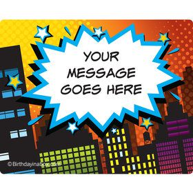 Superhero Comics Personalized Rectangular Stickers (Sheet of 15)
