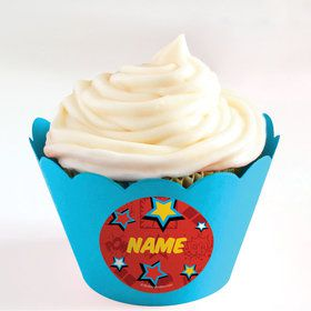 Superhero Girls Personalized Cupcake Wrappers (Set of 24)