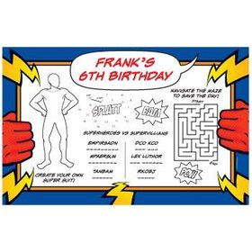 Superhero Party Personalized Activity Mats (8-pack)