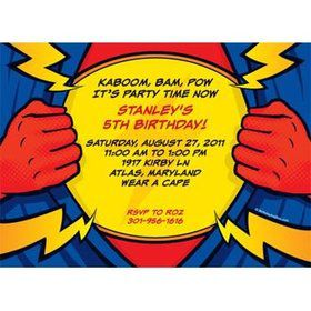 Superhero Party Personalized Invitation (each)