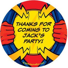 Superhero Party Personalized Stickers (sheet of 12)