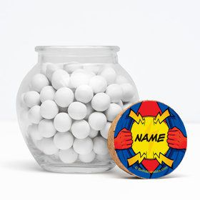 "Superhero Personalized 3"" Glass Sphere Jars (Set of 12)"