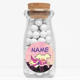 "Superhero Pink Personalized 4"" Glass Milk Jars (Set of 12)"