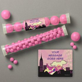 Superhero Pink Personalized Candy Tubes (12 Count)