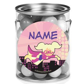 Superhero Pink Personalized Mini Paint Cans (12 Count)