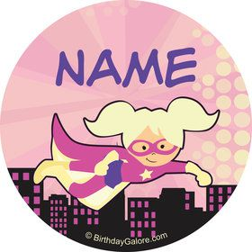 Superhero Pink Personalized Mini Stickers (Sheet of 24)