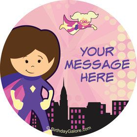Superhero Pink Personalized Stickers (Sheet of 12)