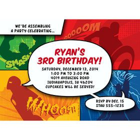 Superheroes Personalized Invitation (Each)