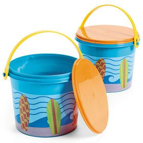 Surfs Up Plastic Pails with Lids (12 Pack)
