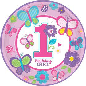 "Sweet 1st Birthday Girl 10 1/2"" Luncheon Plates (18 Pack)"