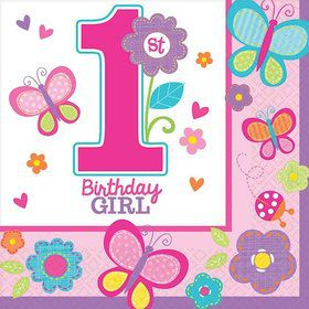 Sweet 1st Birthday Girl Beverage Napkins (36 Pack)