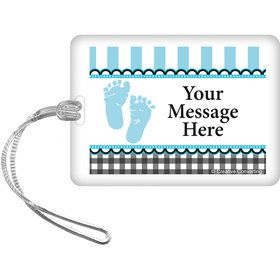 Sweet Baby Feet Blue Personalized Bag Tag (Each)