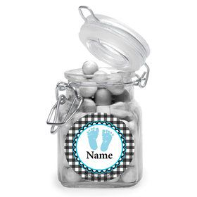Sweet Baby Feet Blue Personalized Glass Apothecary Jars (12 Count)