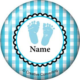 Sweet Baby Feet Blue Personalized Mini Button (Each)