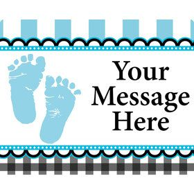 Sweet Baby Feet Blue Personalized Rectangular Stickers (Sheet of 15)