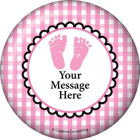 Sweet Baby Feet Pink Personalized Button (Each)