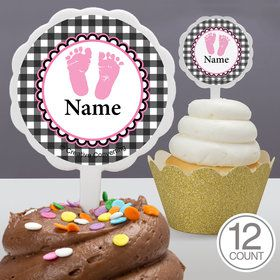 Sweet Baby Feet PinkPersonalized Cupcake Picks (12 Count)