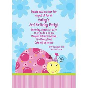 Sweet Ladybug Personalized Invitation (each)