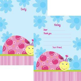 Sweet Ladybug Personalized Thank You Note (each)