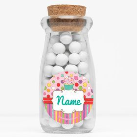 "Sweet Stuff Personalized 4"" Glass Milk Jars (Set of 12)"