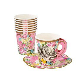 Talking Tables Truly Alice Cup Set With Handle & Saucers (12 Each)