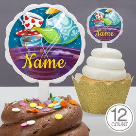 Tea Party Personalized Cupcake Picks (12 Count)