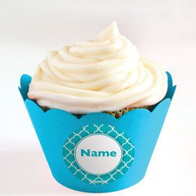 Teal Quatrefoil Personalized Cupcake Wrappers (Set of 24)