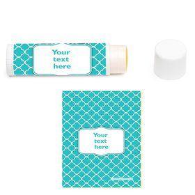 Teal Quatrefoil Personalized Lip Balm (12 Pack)