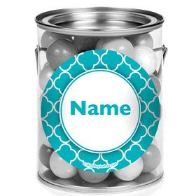 Teal Quatrefoil Personalized Mini Paint Cans (12 Count)E