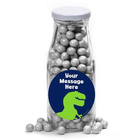 The Friendly Dinosaur Personalized Glass Milk Bottles (12 Count)