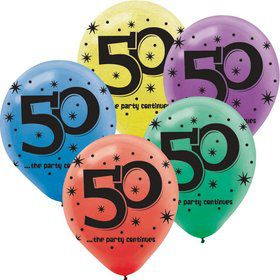 "The Party Continues 50th Birthday 12"" Latex Balloon (15 Pack)"