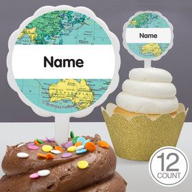The World Awaits Personalized Cupcake Picks (12 Count)