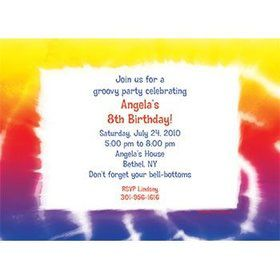 Tie Dye Fun Personalized Invitation (each)