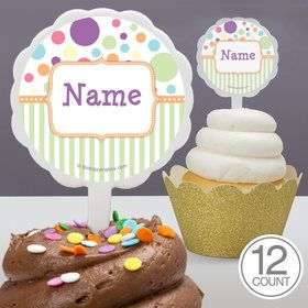Tiny Bundle Neutral Personalized Cupcake Picks (12 Count)