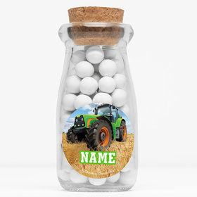 """Tractor Time Personalized 4"""" Glass Milk Jars (Set of 12)"""