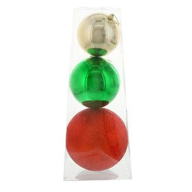 Traditional Holly Large Assorted Ball Ornament Set (3)